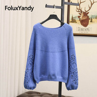 Pearls Women Sweater Plus Size Pullovers Casual O neck Loose Stretched Long Sleeve Knitted Sweater SWM1230