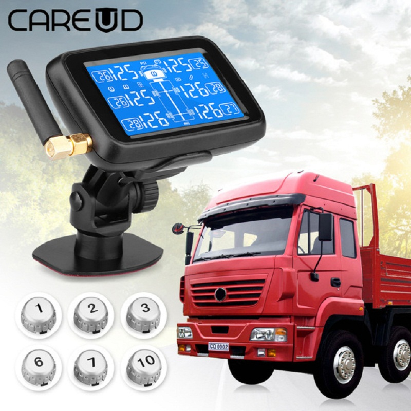 CAREUD U901 Auto Camion TPMS Système de Surveillance de Pression Des Pneus Sans Fil De Voiture avec 6 Capteurs Externes Remplaçable Batterie LCD Affichage