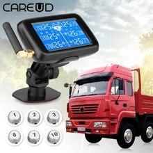 Careud u901 caminhão automático tpms carro sistema de monitoramento pressão dos pneus sem fio com 6 sensores externos bateria substituível display lcd