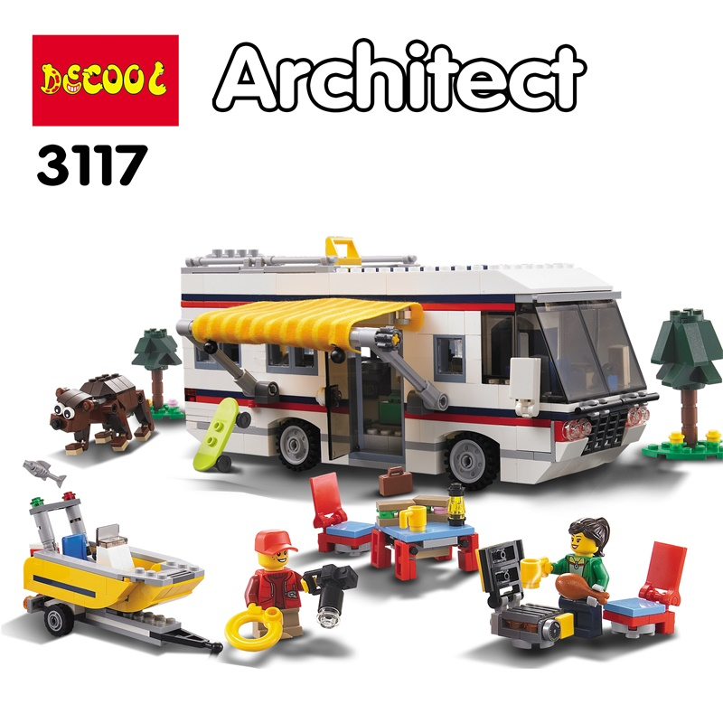 DECOOL 3117 City Creator 3 in 1 Vacation Getaways Model Building Blocks Enlighten DIY Figure Toys For Children Compatible Legoe decool 3114 city creator 3in1 vehicle transporter building block 264pcs diy educational toys for children compatible legoe