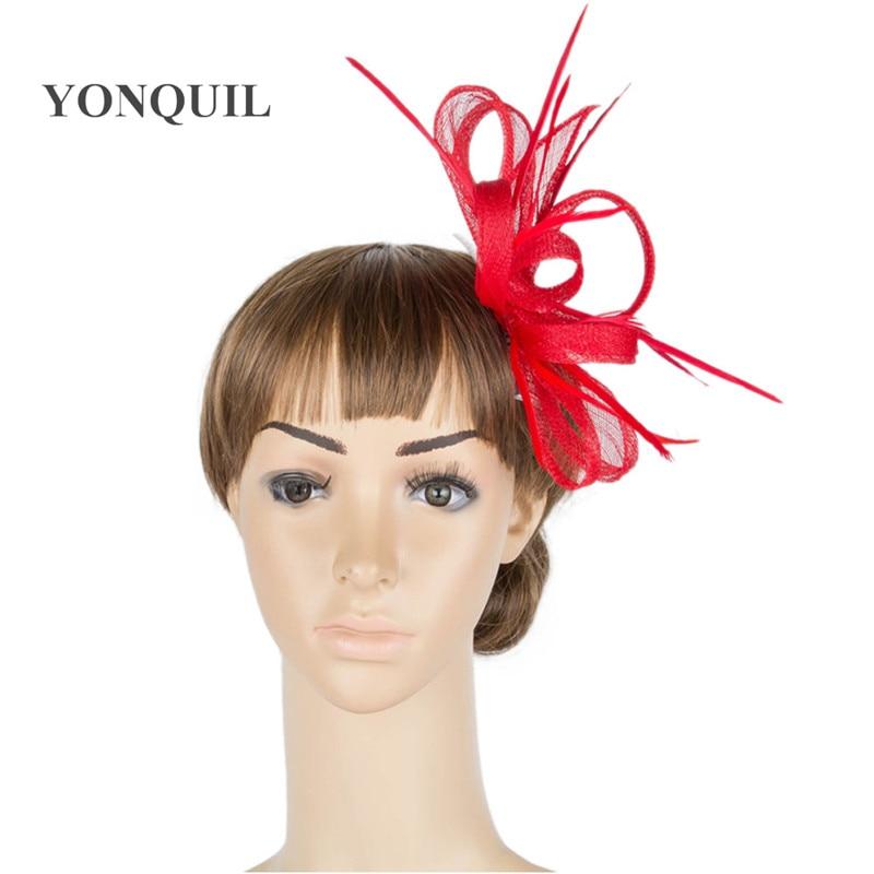 21 colores seleccione derby rojo pelo fascinator sombrero tocado de - Accesorios para la ropa - foto 4