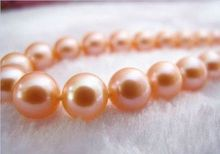 noble women gift 17INCH 14K GOLD CLASP HUGE AAA 11-12MM PERFECT ROUND SOUTH SEA GENUINE PINK PEARL NECKLACE
