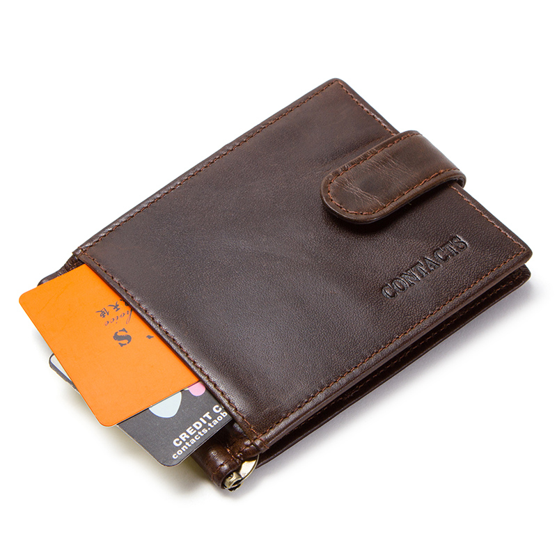 CONTACT'S cow leather money clip men card wallet thin money clamp for 10 cards male bifold credit card case with zip coin pocket 1