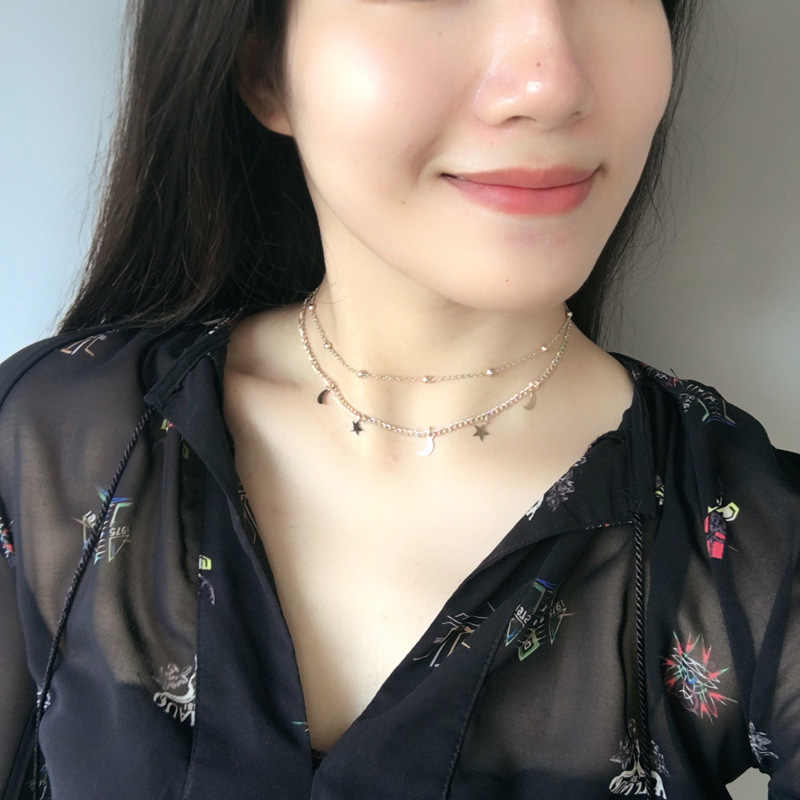 Korean jewelry simple double necklace moon star short paragraph wild necklace wholesale chain clavicle chain Statement Necklace