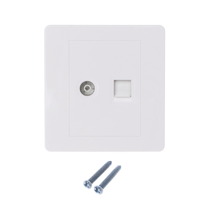 RJ45 Network Adapter+TV Antenna Coaxial Wall Mount Output Faceplate Panel Socket 120mm wall plate 4 ports network ethernet lan cat5e rj45 socket panel faceplate home plug adapter