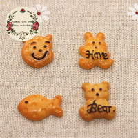 10pcs Cute Cartoon Animal Bear/Hare/Fish Fake Biscuit Miniature Food Art DIY Decorative Craft Scrapbooking