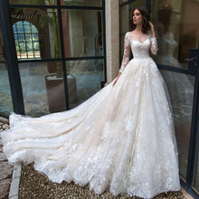 Liyuke Embroidery Appliques With Scalloped Neck A Line Wedding Dress  And Full Sleeve Wedding Gown