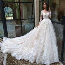 Liyuke nakış aplikler taraklı boyun A Line düğün elbisesi ve tam kollu gelinlik