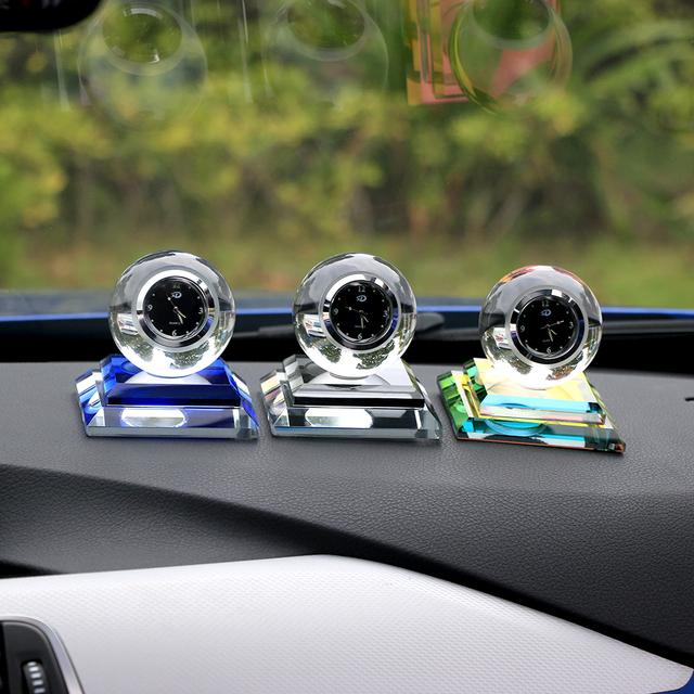 Luxury Artificial Crystal Clock Car Perfume Seat Interior Decoration