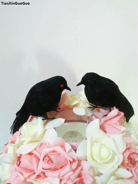 about 14cm simulation crow bird hard model foam&black feathers crow bird Halloween decoration prop, party ornament s1285