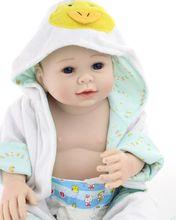 20inch Lifelike Reborn Baby Alive Silicone Doll Realistic Boy Wearing a Bathrobe Women Nursery Girl Gifts