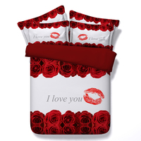 3d red lips roses bedding set romantic girls bed linens 3/4 pc duvet cover queen king twin size white bedspreads Valentine's day