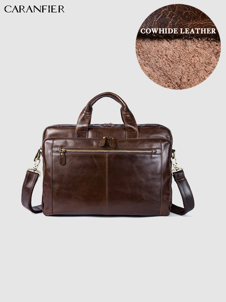 CARANFIER Mens Briefcase Business Document Vintage Solid Genuine Cowhide Leather Large Capacity Laptop Bags Quality Travel Totes