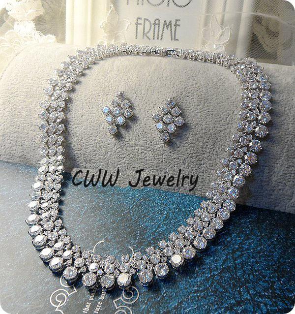 Acessórios de luxo 2017 de Casamento Nigeriano Africano Contas CZ Criado Diamante Conjuntos de Jóias Colar De Cristal De Noiva Para Noivas T111