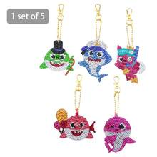 5pcs Lovely Undersea Animal Keychain DIY Point Drill Key Ring Backpack Decoration Pendant Key Chain Decoration(China)