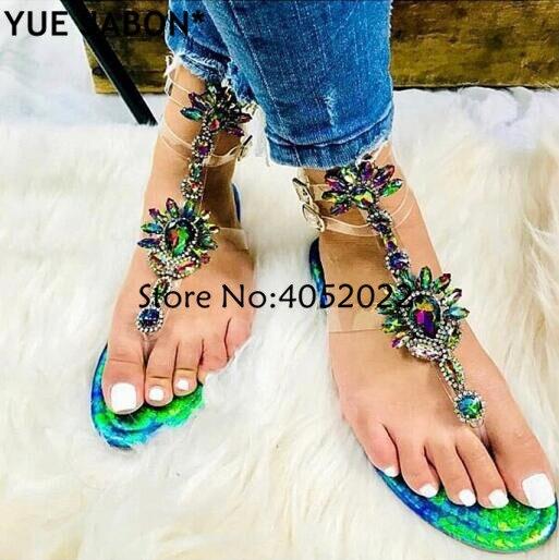 HTB10bdAAXmWBuNjSspdq6zugXXa3 2019 Woman Sandals Women Shoes Rhinestones Gladiator Flat Sandals Crystal Chaussure Plus Size 43 tenis feminino Green Flip Flops