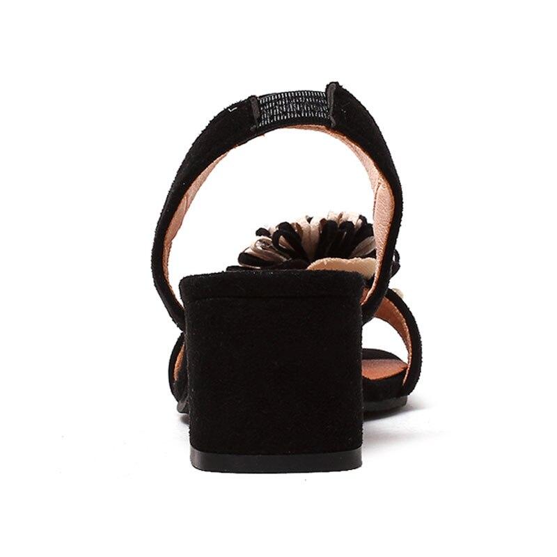 Sangle Talons Dames Femelle brown Fleur Chunky Talon Fanyuan De Black Élégant Sandales Parti Cheville Qualité Brun Noir Chaussures Haute Y0vfUcFp