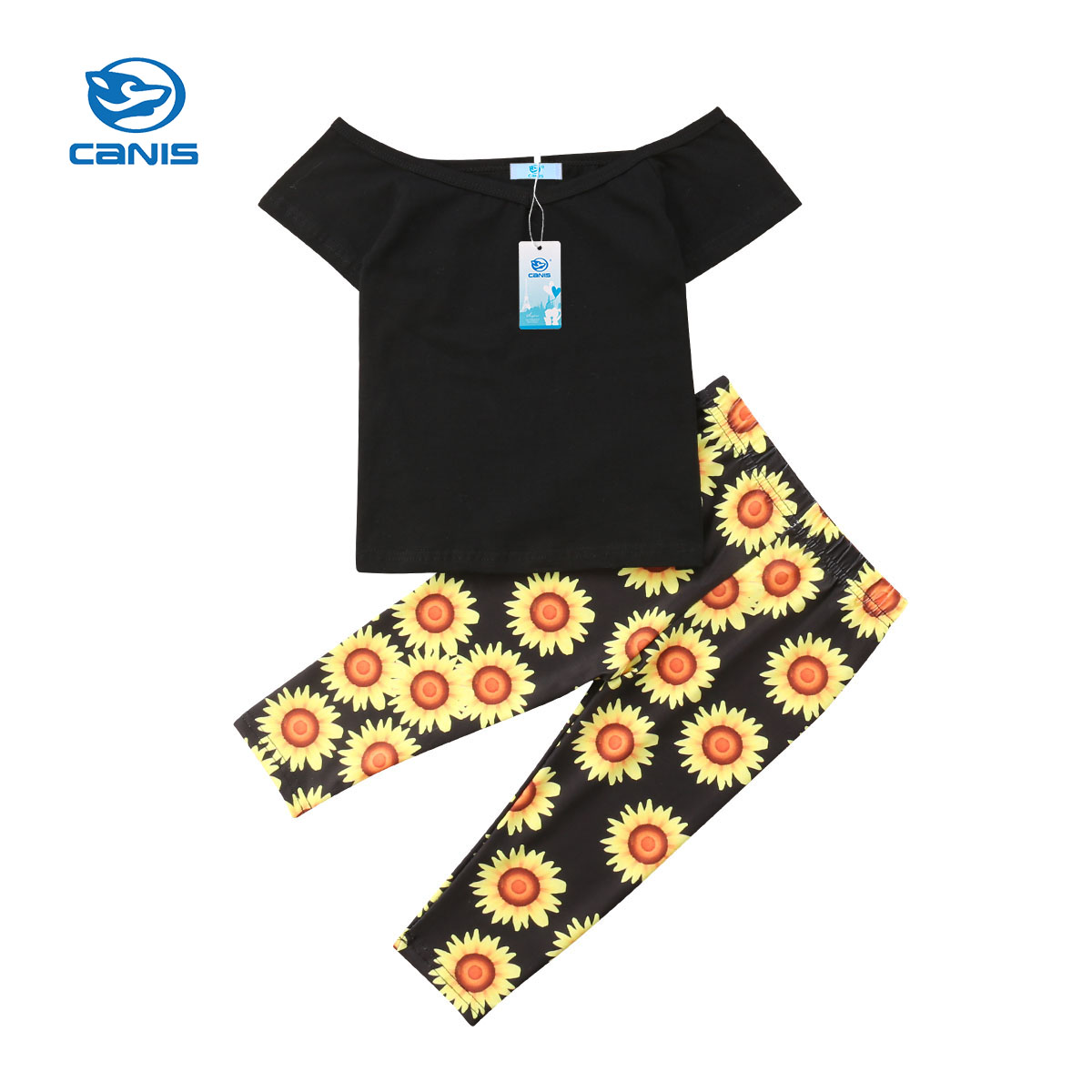 купить CANIS Toddler Kids Baby Girls Hot sale 2 Piece Floral Bebe Clothes Backless T-shirt Tops Sunflower Long Pant Outfit Clothes по цене 299.53 рублей