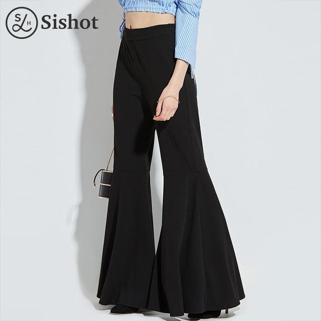 Sishot женские офисные брюки 2017 осенние черные плотная Flare Штаны полная длина молнии Плиссированные клеш офисные Штаны