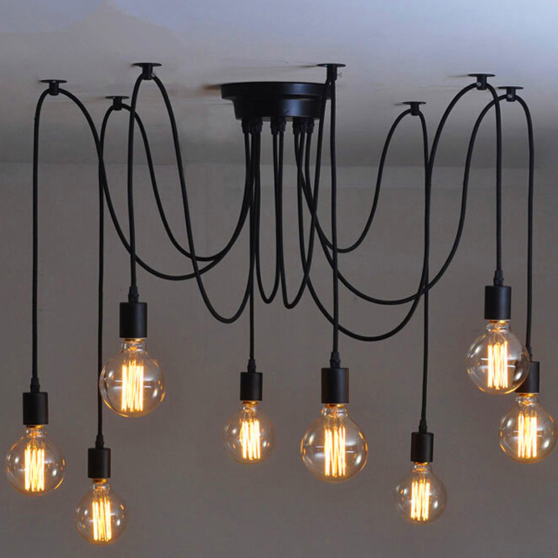 Loft Vintage Eletrical Wire Pendant Lights With 6/8/10/12/14 arms,E27 Pendant Lamps For Home/Living Room Decoration Lighting
