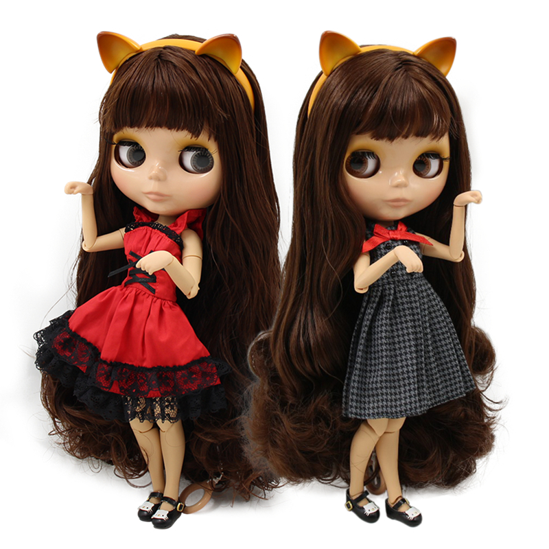 1 6 bjd blyth doll brown hair with bangs tan skin joint body cat headband red