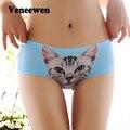 2015 nueva marca de moda de alta calidad de impresión 3d mujeres underwear de panty escritos atractivos de las mujeres sin costura niñas gato bragas de control