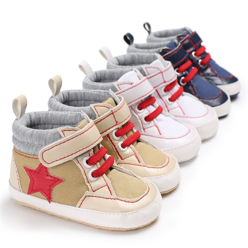 2018 new first walker shoes stars printing canvas classical baby moccasins baby boys sports shoes boot soft sole for 0-18month