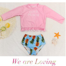 Funfeliz Long Sleeve Baby Girl Swimwear UV Protection Two Pieces Swimsuit Pineapple Swimming Suit for Girls Children