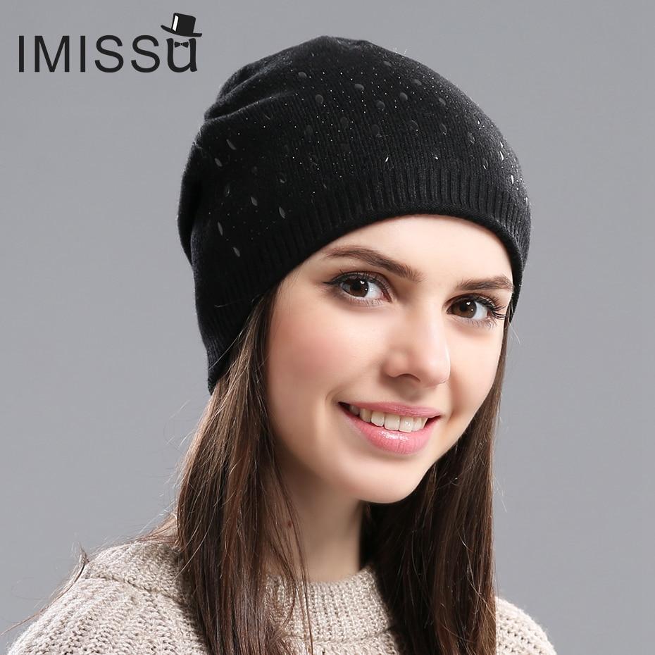 c0a89df5d2d Imissu зимние шапочки шляпа для Для женщин шерсти вязать Повседневное Кепки  с твердой Цвета Дизайн модные толстые теплые Шапки для Обувь для д.