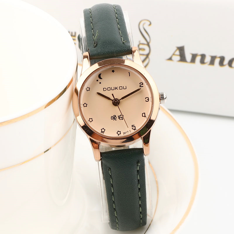 Exquisite small simple women dress watches retro leather female clock DOUKOU brand women's fashion good night design wristwatch