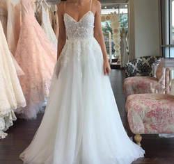 2019 богемное Летнее белое свадебное платье линии бретельках Кружева Аппликация сексуальное свадебное платье с открытой спиной плюс