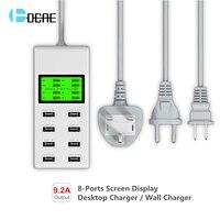 DCAE 8 Port USB Carregador de Telefone Display LED UE/EUA/UK Plug Parede móvel Inteligente de Carregamento Rápido Para iPhone iPad Celular Xiaomi carregador