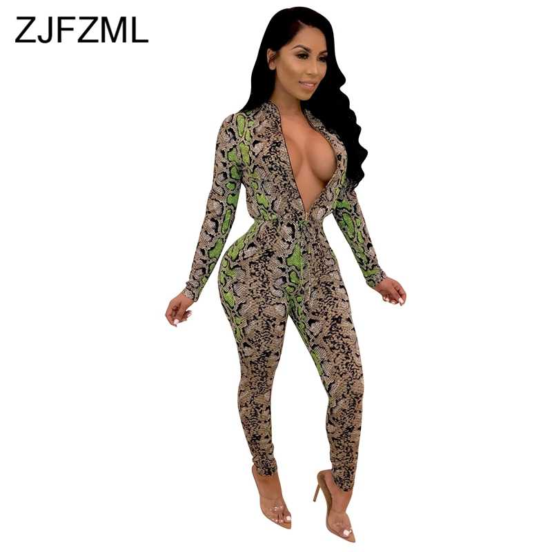862b40fd455 Snake Skin Print Sexy Romper Women Jumpsuit Front Zipper Long Sleeve Skinny Party  Overall Vintage Stand