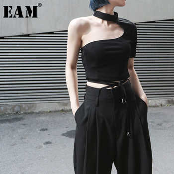[EAM] 2019 New Spring Summer Round Neck Short Sleeve Backless Irregular Brief Personality Short T-shirt Women Fashion Tide JX391 - DISCOUNT ITEM  17% OFF All Category