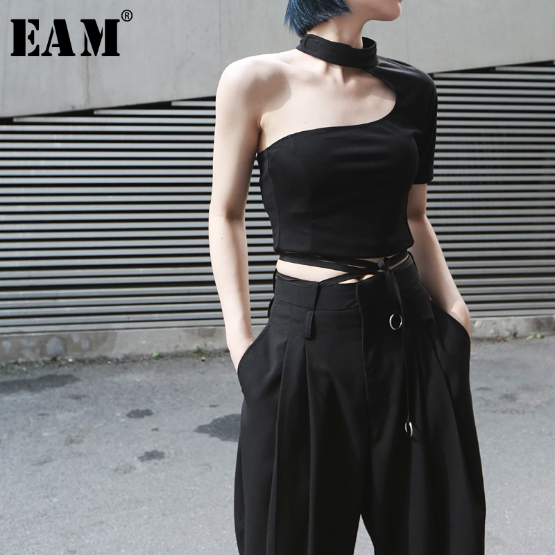 [EAM] 2020 New Spring Summer Round Neck Short Sleeve Backless Irregular Brief Personality Short T-shirt Women Fashion Tide JX391