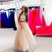 100% same as photos Two Pieces Long Prom Dresses Beads A Line Tulle Evening Prom Gown  Long Two Pieces Homecoming Dress Z274