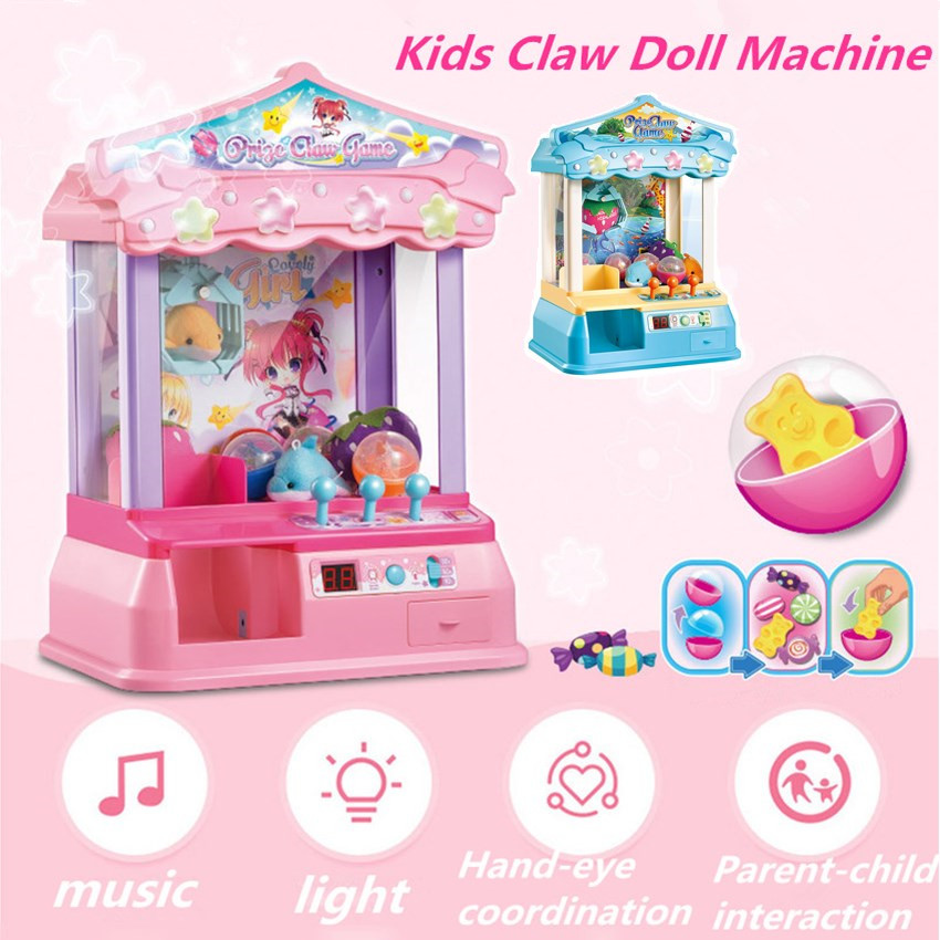 Kids Music Candy Grabber Coin Operated Game Mini Doll Machine Gag Toy Best Gift For Child