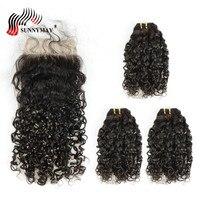 Sunnyмая человеческие волосы пучки с закрытием малазийские девственные волосы переплетения пучки спиральные вьющиеся 3 пучка с кружевом Закр