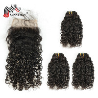 Sunnymay Human Hair Bundles With Closure Malaysian Virgin Hair Weave Bundles Spiral Curly 3 Bundles With Lace Closure