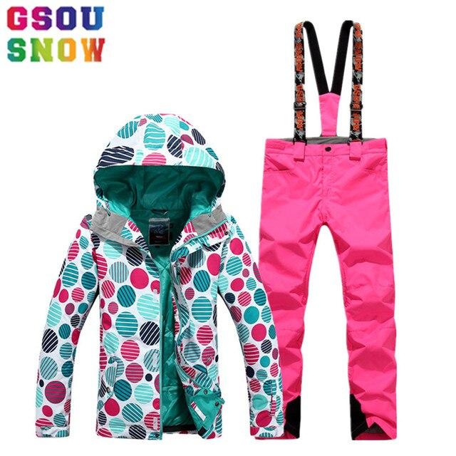 GSOU SNOW Brand Ski Suit Women Ski Jacket Snowboard Pants Winter Waterproof  Mountain Skiing Suit Ladies Outdoor Sport Clothing 3e384f53b