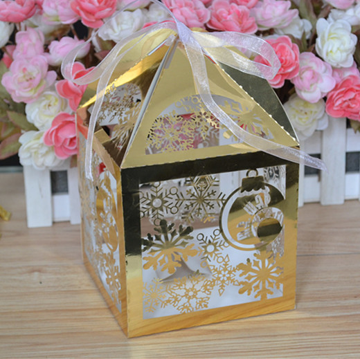 Boîte à bonbons de mariage en papier métallique | Style cadeau et artisanat décoratif, élégante, dernière boîte de cadeaux fashional découpée au laser, 2016