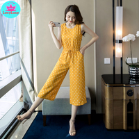 2019 summer new Korean style yellow wave point waist jumpsuit Regular Office Lady Jumpsuits Polyester Women's clothing