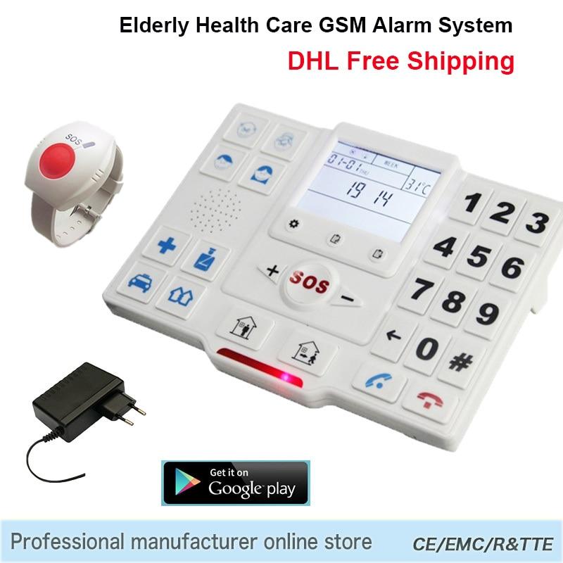 Telephone Alarm System Wireless APP Control Home Security Burglar GSM SMS Elderly Care Panel SOS Call Temperature Monitoring T2