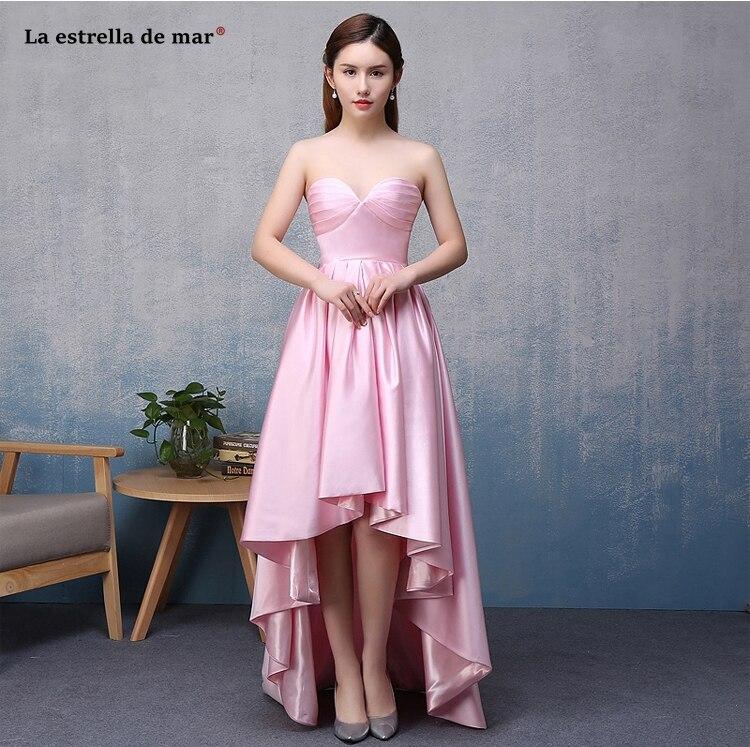 Wedding guest   dress   hot sale satin sexy sweetheart pink dark green high and low   bridesmaid     dress   long vestido madrinha