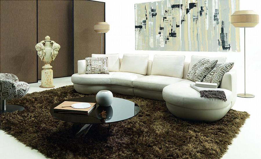 Free Shipping 2013 New European Laest Design Classic White Leather L Shaped Round  Sofa LC9109 In Living Room Sofas From Furniture On Aliexpress.com ...
