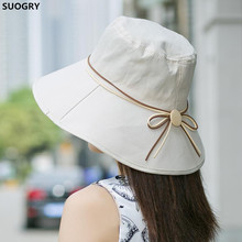 [SUOGRY]Elegant sun hats Foldable Butterfly knot wide brim Floppy Summer hats for women Outdoor UV Protection