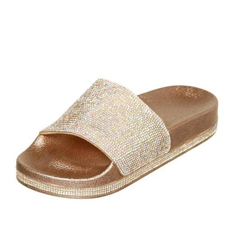 Dropwow Summer Solid Flat Rhinestone Bling Slippers Home Indoor ... cdf908b02f21