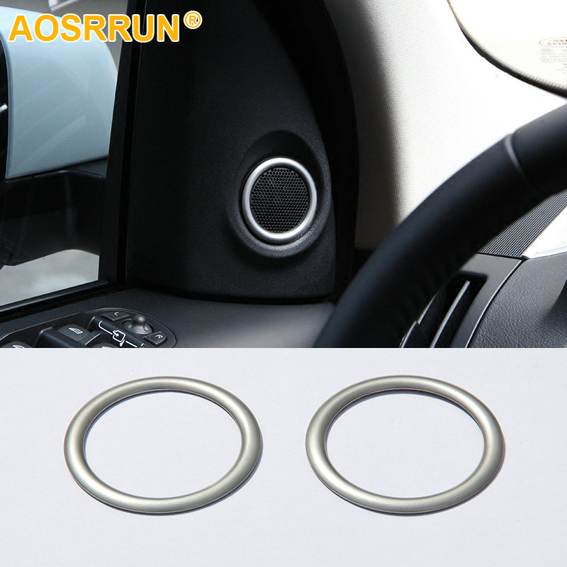 AOSRRUN ABS Chrome Trim High speakers stereo Cover Ring 2PCS Car Accessories For Land Rover Freelander 2 2008-2014 L359 HSE