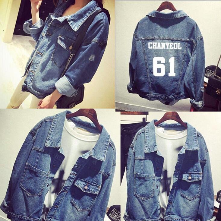 kpop EXO Chanyeol Sehun DO Chen Good Qquality Denim Jacket Chaqueta Jeans bts v warriors jacket