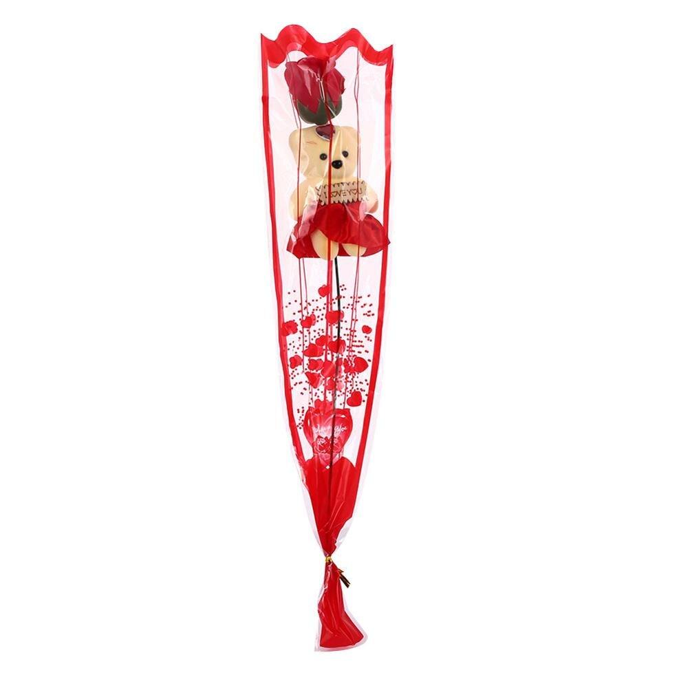 Искусственные цветы розы Медведь собака кролик Мопс юбилей день Святого Валентина подарок на день рождения мать подарок Свадебная вечеринка украшение - Цвет: 10pcs rose with bear